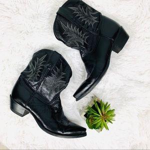 Tony lama black leather ankle western style boots